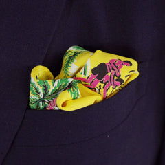 Freewheeling Yellow Aloha Rayon Pocket Square by Put This On