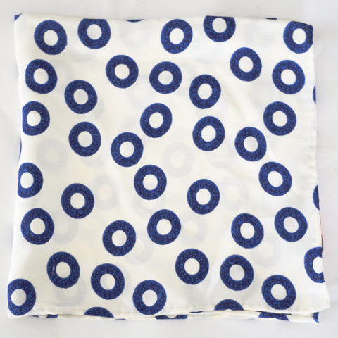 Fun White and Blue Floral Ring Rayon Pocket Square by Put This On
