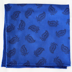 Rich Blue and Black Paisley Rayon Pocket Square by Put This On