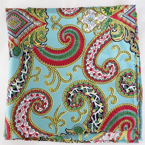 Brilliant Sea Foam Paisley Rayon Pocket Square by Put This On