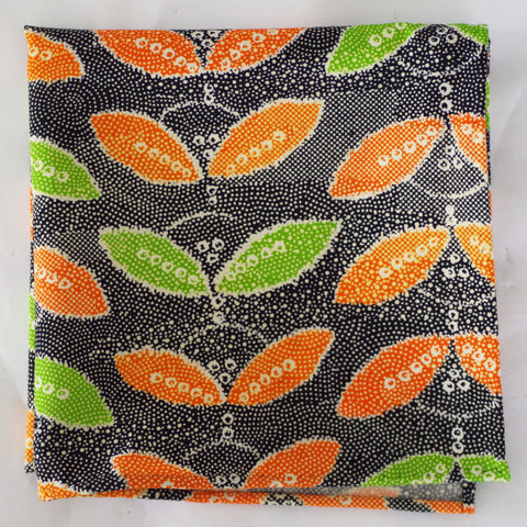 Vibrant Orange and Green Leaf Rayon Pocket Square by Put This On