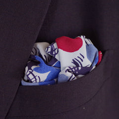 Cool Blues and Red Floral Rayon Pocket Square by Put This On