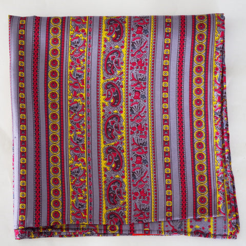 Baroque Red, Blue, and Yellow Silk Pocket Square by Put This On