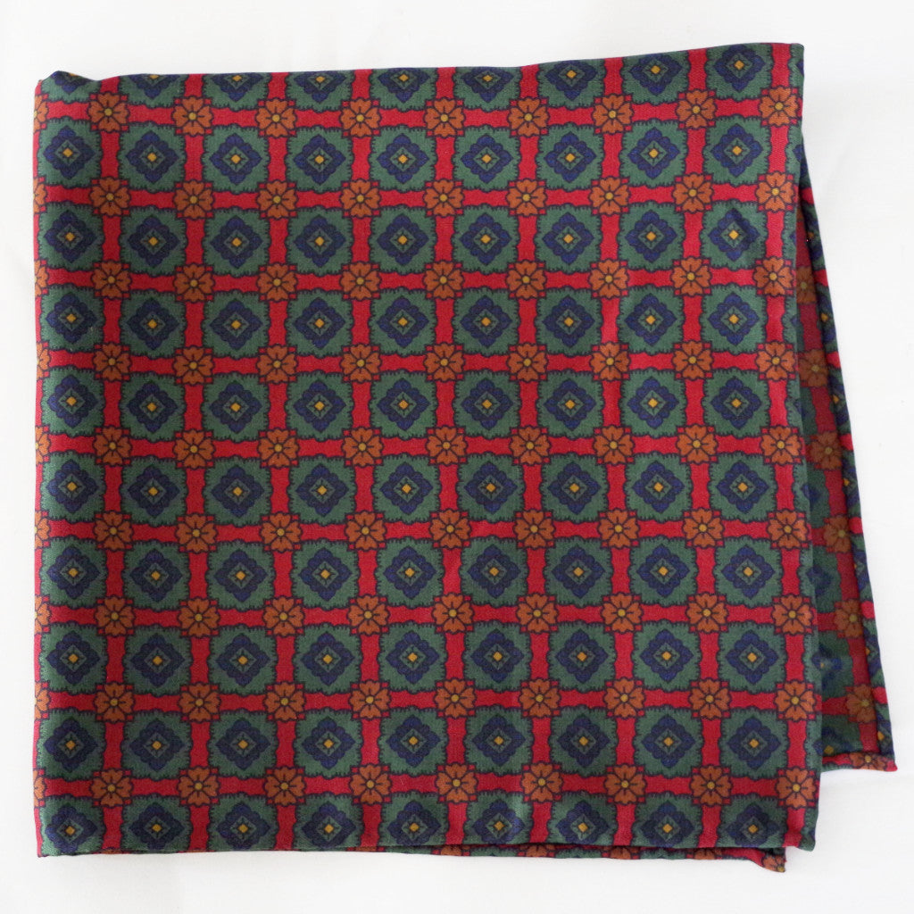 Bold Red and Green Madder Rayon Pocket Square by Put This On