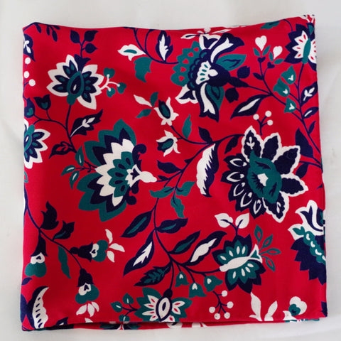 Brilliant Red, Green, and Blue Floral Rayon Pocket Square by Put This On