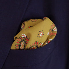 Rich Gold Paisley Rayon Pocket Square by Put This On