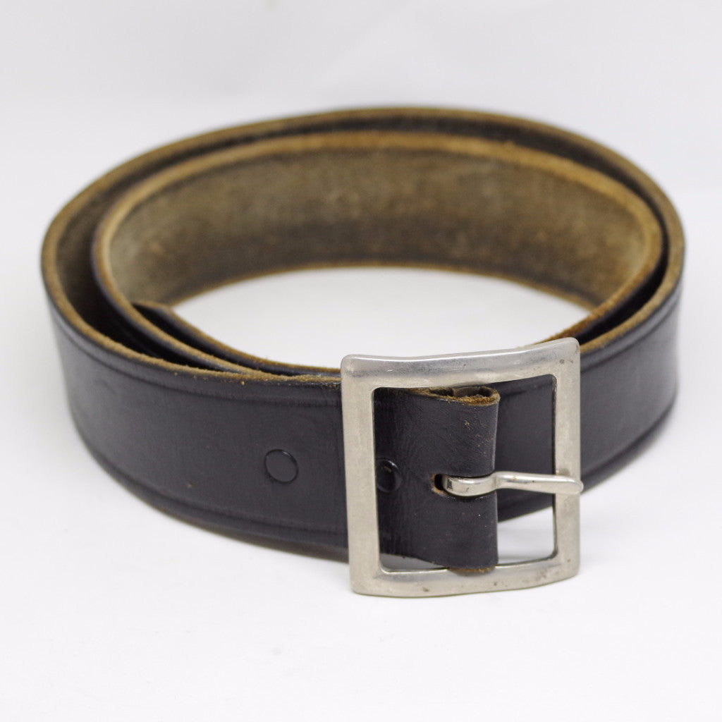 Vintage Square Buckle Black Police Belt- 36/38