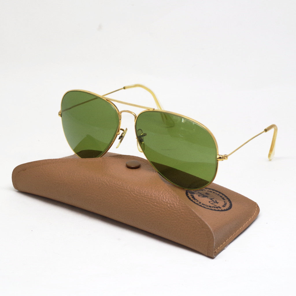Vintage Green Lens Ray-Ban by Bausch & Lomb Aviator Sunglasses w/ Leather Case