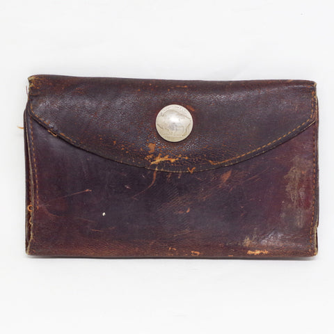 Vintage Leather Pocketbook w/ Buffalo Nickel Snap Closure