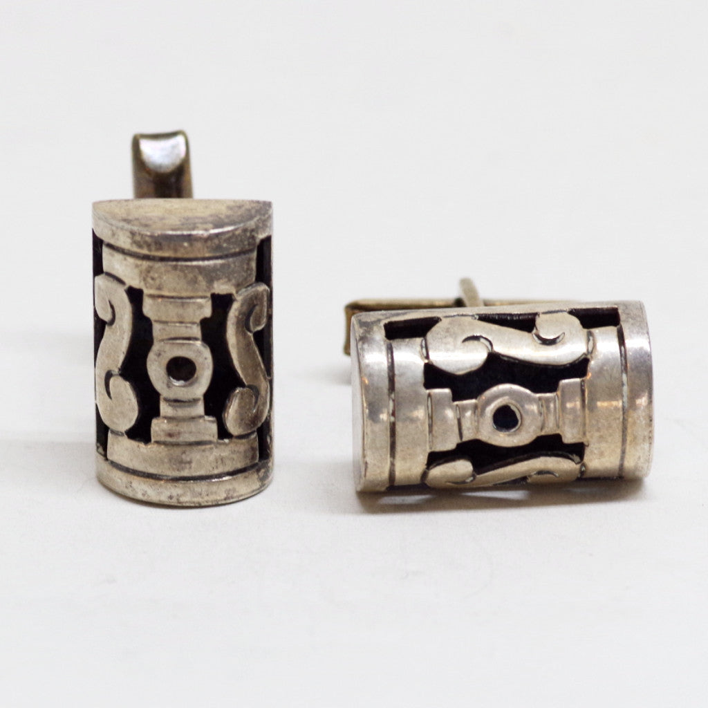 Mid-Century Sterling Classical Column Cufflinks