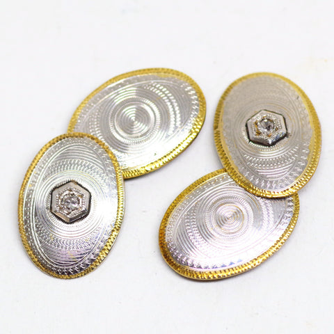 Edwardian 14kt Gold and Platinum Cufflinks w/ Diamond