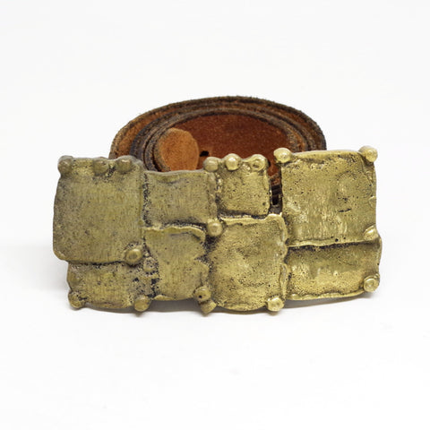 Brutalist Brass Squares Belt Buckle