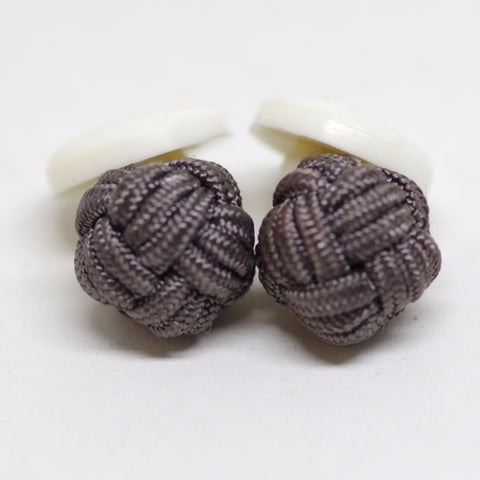 Grey Elastic Knot and White Plastic Cufflinks