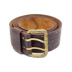 Stitched Leather Two Prong Belt- 34/36