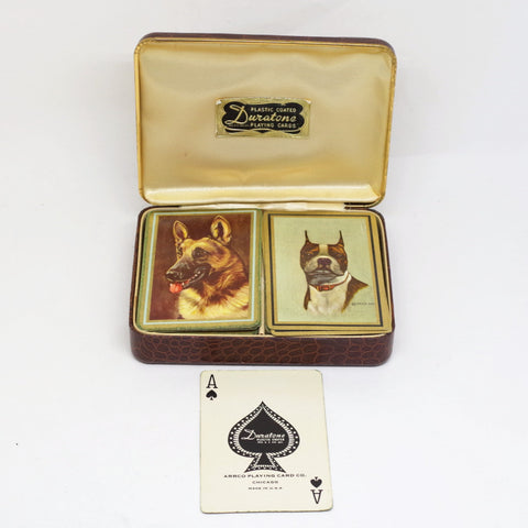 "Vintage ""Duratone"" Dog Playing Card Packs w/ Case"