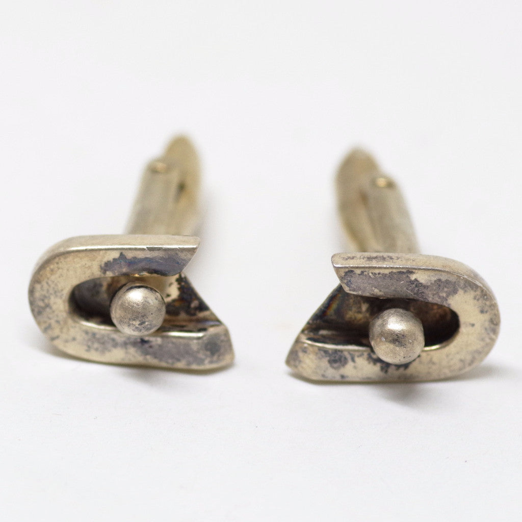 Silver Modernist Curved Cufflinks