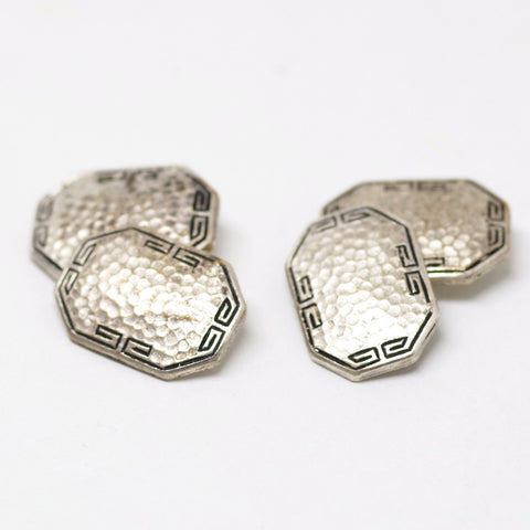 Hammered Silver w/ Meander Cufflinks