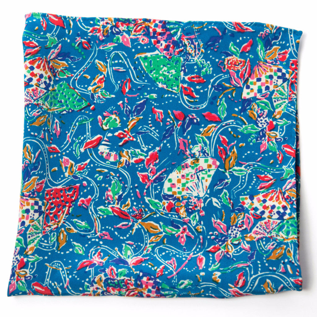 Vibrant Blue, Pink and Green Floral Silk Pocket Square by Put This On