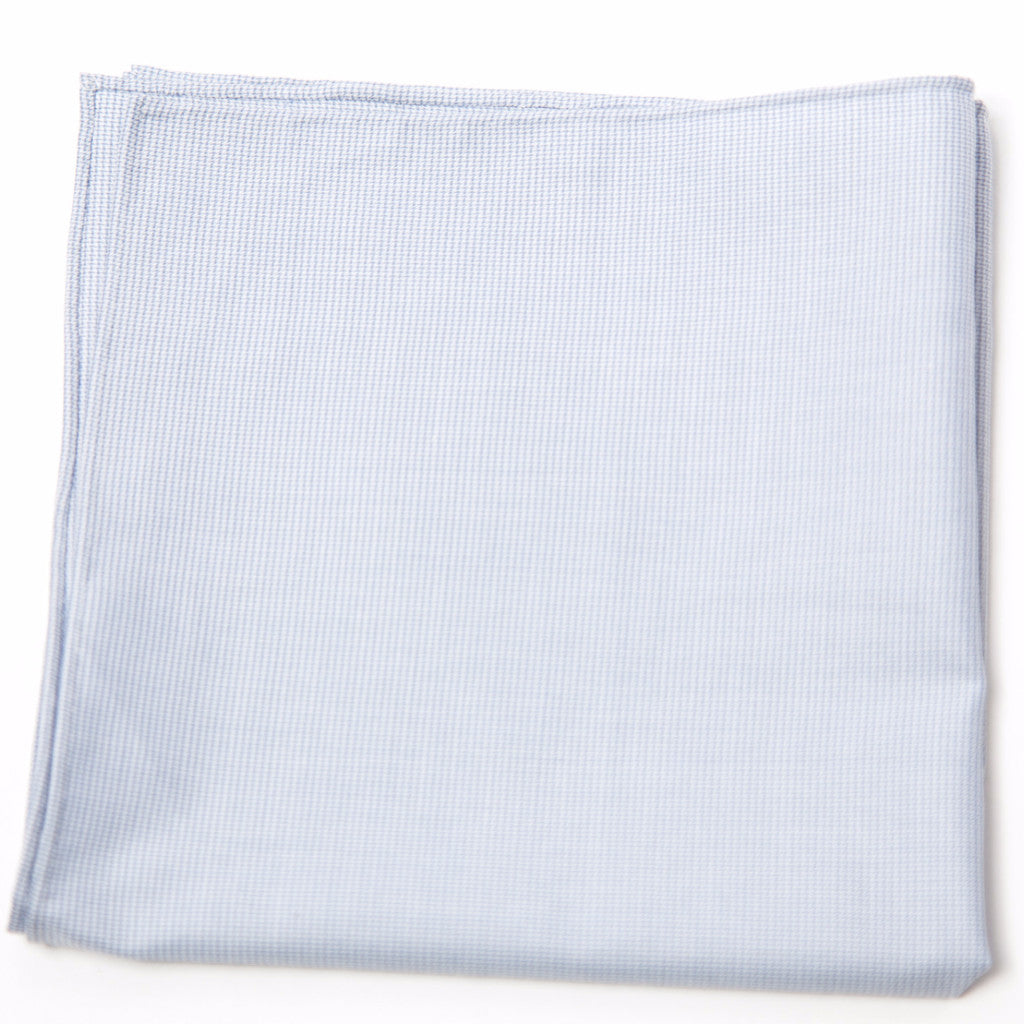 Handsome Blue and White Cotton Pocket Square by Put This On