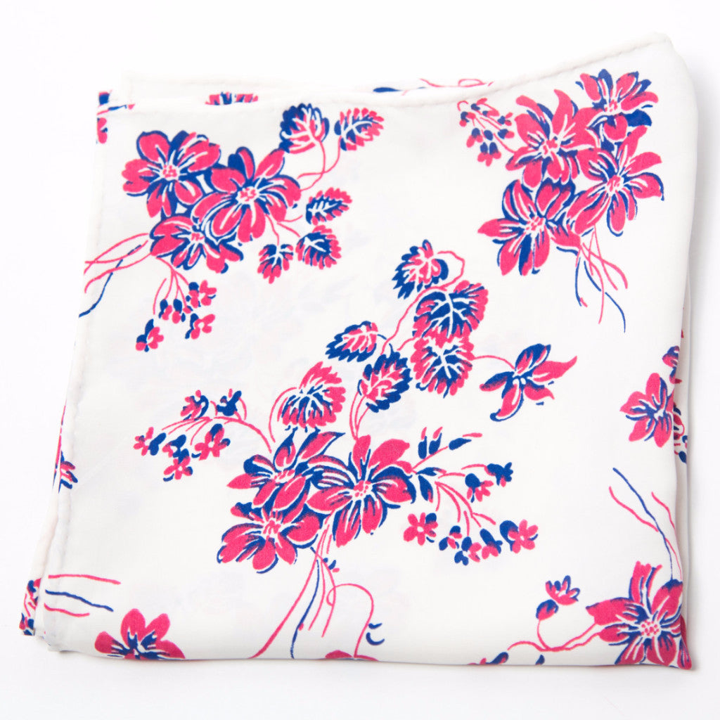 Delightful Blue, Pink and White Floral Rayon Pocket Square by Put This On