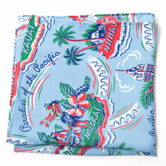 Fun Blue, Green, Red Hawaiian Rayon Pocket Square by Put This On
