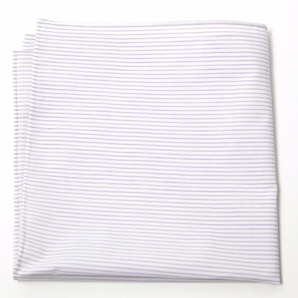 Attractive Lavender and White Striped Cotton Pocket Square by Put This On