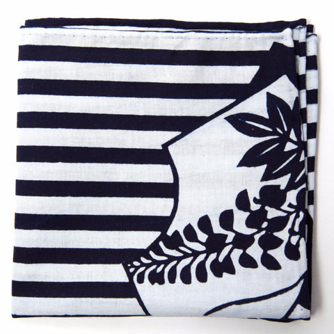 Delightful Navy and White Floral and Stripes Cotton Pocket Square by Put This On