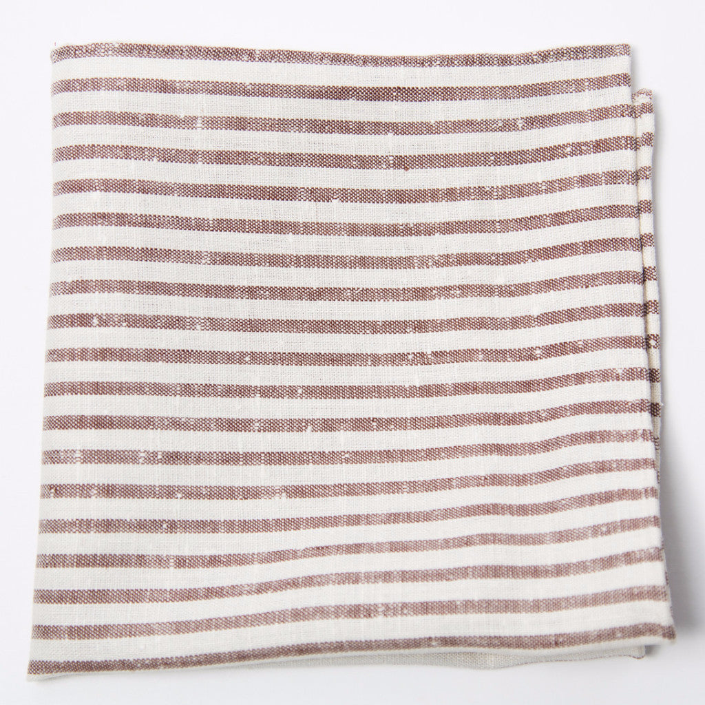 Elegant Brown and Ecru Striped Linen Pocket Square by Put This On