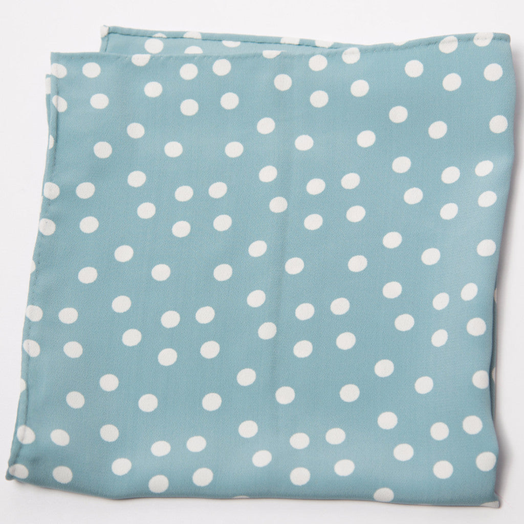 Smart Light Blue and White Polka Dotted Silk Pocket Square by Put This On