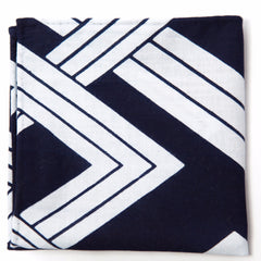 Terrific Navy and White Geometric Cotton Pocket Square by Put This On