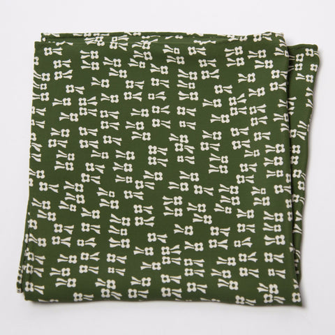 Charming Green and White Floral Rayon Pocket Square by Put This On