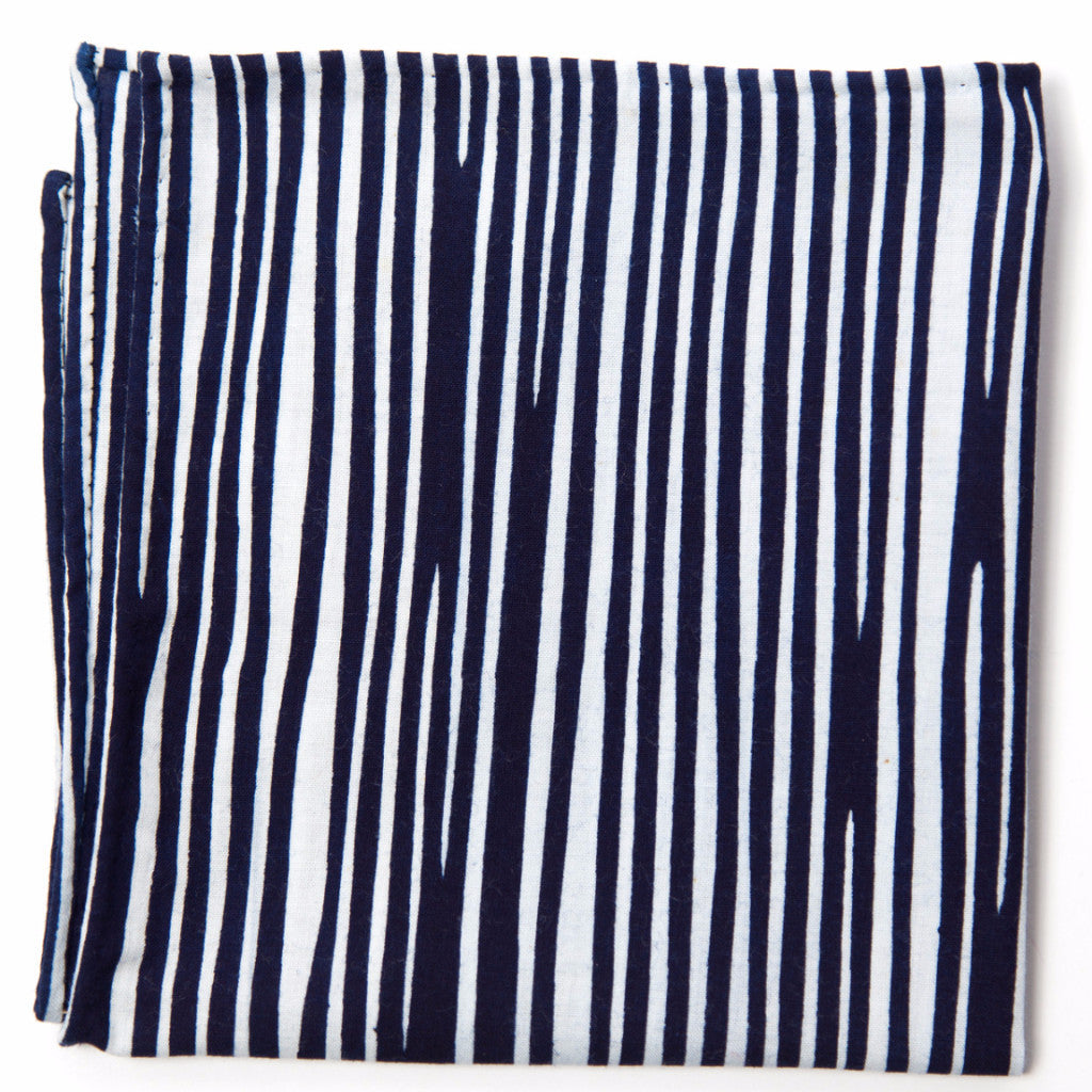 Simple Navy and White Cotton Pocket Square by Put This On