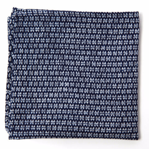 Exquisite Navy and Gray Cotton Pocket Square by Put This On