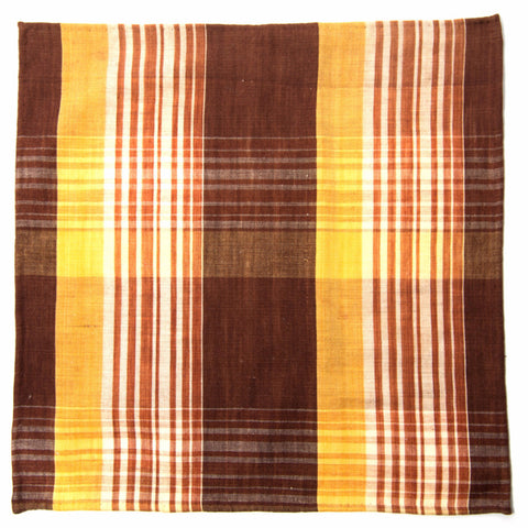 Charming Brown and Yellow Plaid Cotton Pocket Square by Put This On
