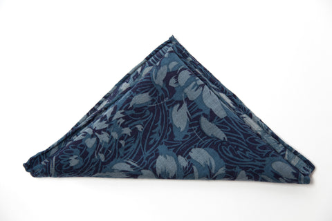 Wonderful Blue Floral Wool Pocket Square by Put This On