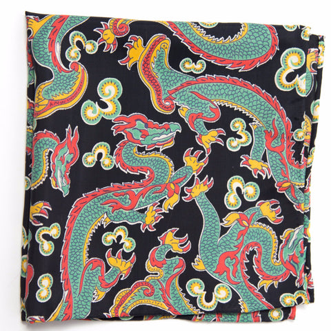Grand Navy and Green Dragon Rayon Pocket Square by Put This On