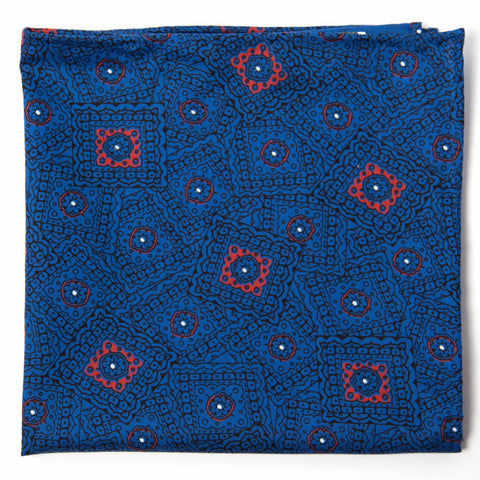 Wonderful Blue, Black and Red Cotton Pocket Square by Put This On