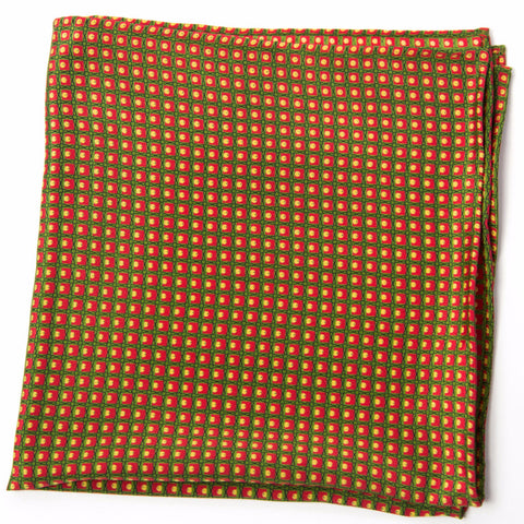 Stunning Olive, Red and Yellow Silk Pocket Square by Put This On