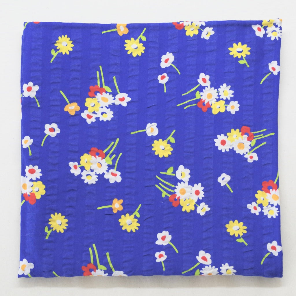 Blue Floral Bouquet Seersucker Pocket Square by Put This On