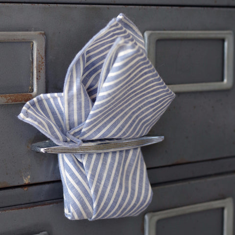 Charming Blue and White Striped Cotton Pocket Square by Put This On