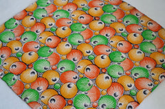 Gorgeous Orange/Green/Yellow Circles Silk Pocket Square by Put This On