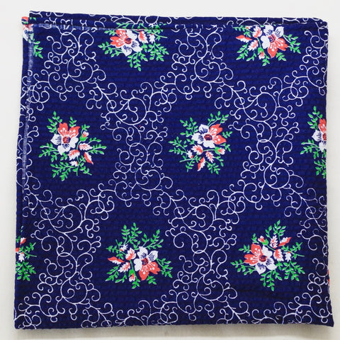 Navy Rococo Floral Cotton Pocket Square by Put This On