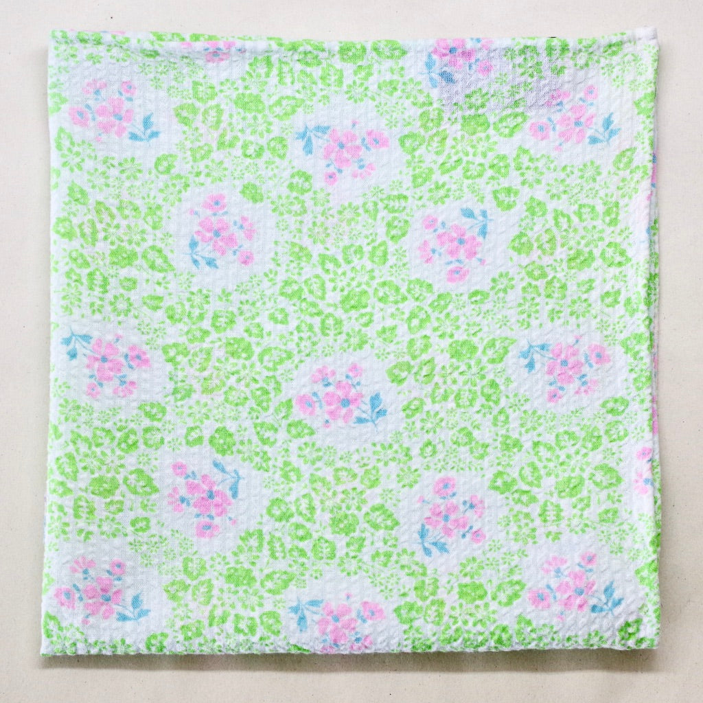 Springy Green and Pink Seersucker Pocket Square by Put This On
