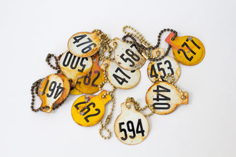 Vintage Auction Number Key Chain