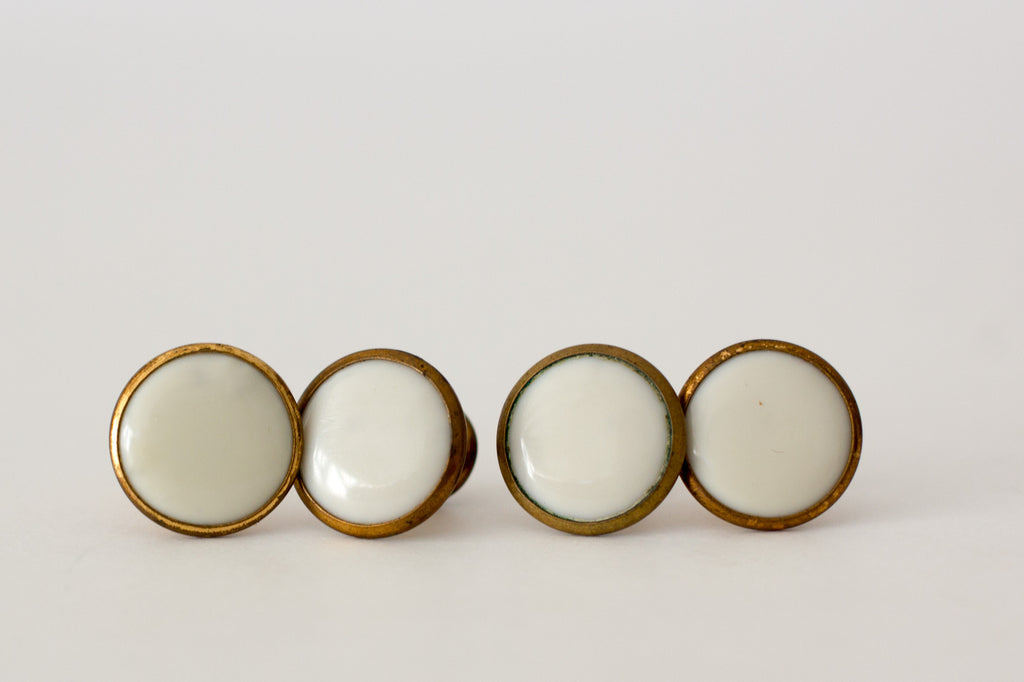 White and Gold Colored Shirt Studs