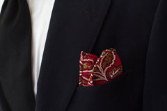 Handsome Red, Green, White and Black Paisley Rayon Pocket Square by Put This On