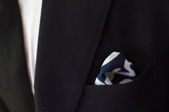 Tropical Floral Navy Cotton Pocket Square by Put This On