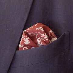 Majestic Horse Print Brown Rayon Pocket Square by Put This On