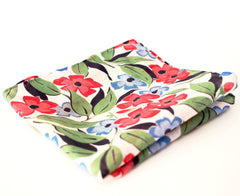 Bright and Springy Blue and Red Floral Print Cotton Pocket Square by Put This On