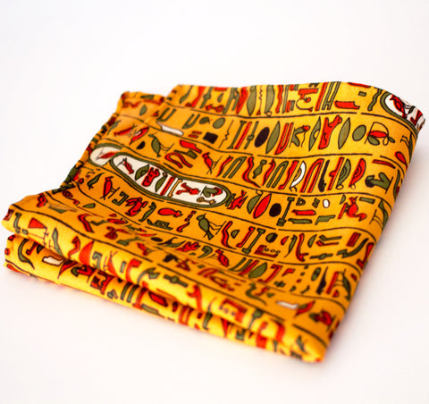 Historic Egyptian Hieroglyph Rayon Pocket Square by Put This On